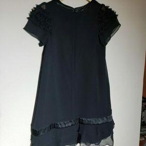 Black Silky and Chiffon Girls Dress